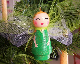 Hand Painted Love Boxes Christmas Angel Birthday St. Patricks Day Fairy Green Wood Peg Doll Ornament