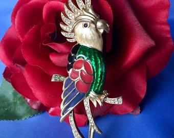 SALE Vintage Enamel and Rhinestone Parrot Brooch, Enamel Bird Brooch, Bird Pin, Figural Parrot Brooch, Parrot Pin