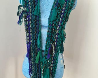 sale Deep sea green aqua shades Recycled silk hand knitted boho tattered rag scarf
