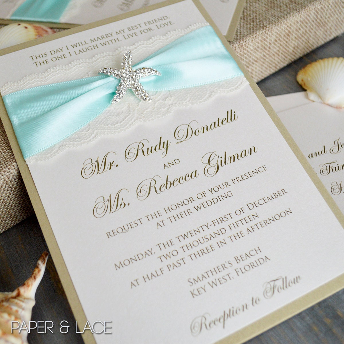 STARFISH Beach Wedding Invitation Ivory or White Lace