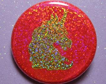 Unicorn pin, unicorn gift, holographic glitter pin
