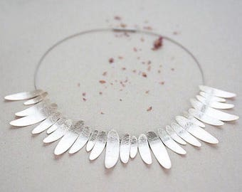 Statement necklace, wedding necklace, floral necklace made in sterling silver, necklace for woman.