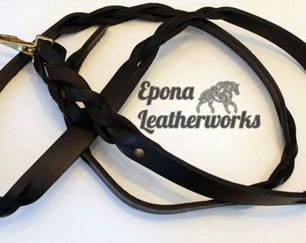 "Leather Horse Lead Shank - Leather Dog Leash - Brown Harness Leather - Size 70"" - Epona Leatherworks"