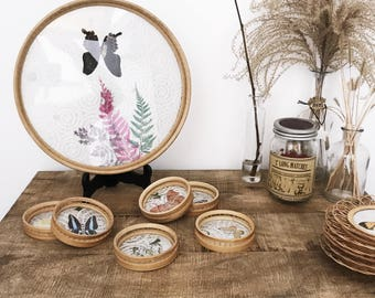 Tray and 6 coasters Butterfly Wicker rattan