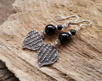 Boho Style Black Onyx Earrings, Pewter Heart Charm Earrings, Bohemian Dangle Earrings, Hippy Earrings, Semi Precious Gemstone Earrings