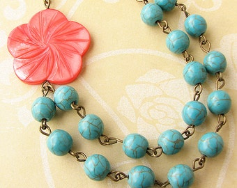Coral Necklace Turquoise Jewelry Beaded Necklace Statement Necklace Flower Necklace