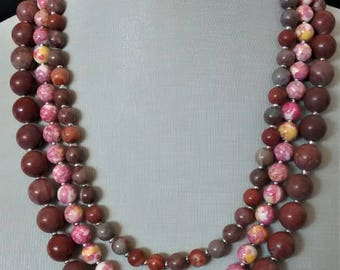 multi strands of natural stones necklace