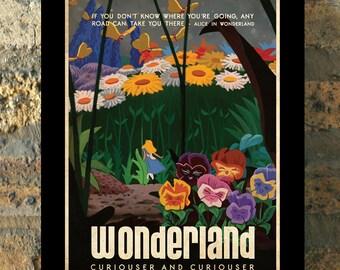 ALICE IN WONDERLAND Disney Princess Travel Poster Vintage Print Wall Art House Warming New Apartment