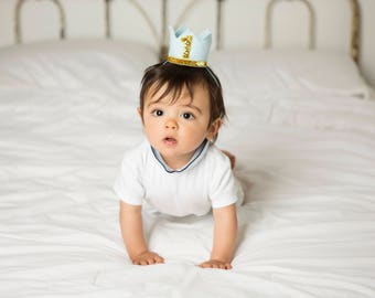 First Birthday Outfit Boy || Boy Birthday Crown || Boy Birthday Outfit ||Boy Party Hat || Little Blue Olive || Baby Blue and Gold
