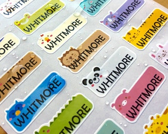 81 Waterproof Name Stickers- Daycare Labels- Cute Animal Design Kids labels- Personalized Name Labels- Customized Labels- Name Stickers
