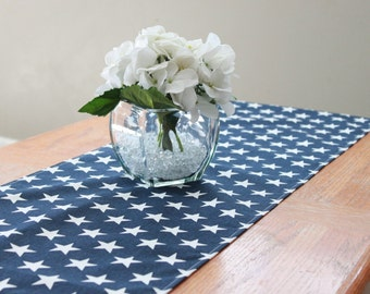 Blue star table runner, Choose length, Memorial day, Patriotic table runner, Fourth of July, July 4th decoration