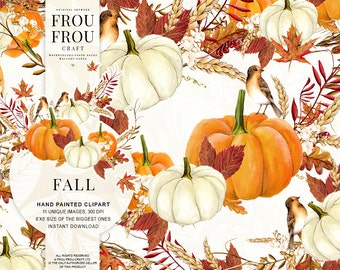Fall Clip Art Autumn Clipart Watercolor Pumpkin Halloween Thanksgiving Handpainted Illustration Orange Red Seasonal Floral Wreath Bouquet