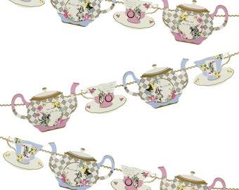 Alice in Wonderland Tea Cup Garland 13'