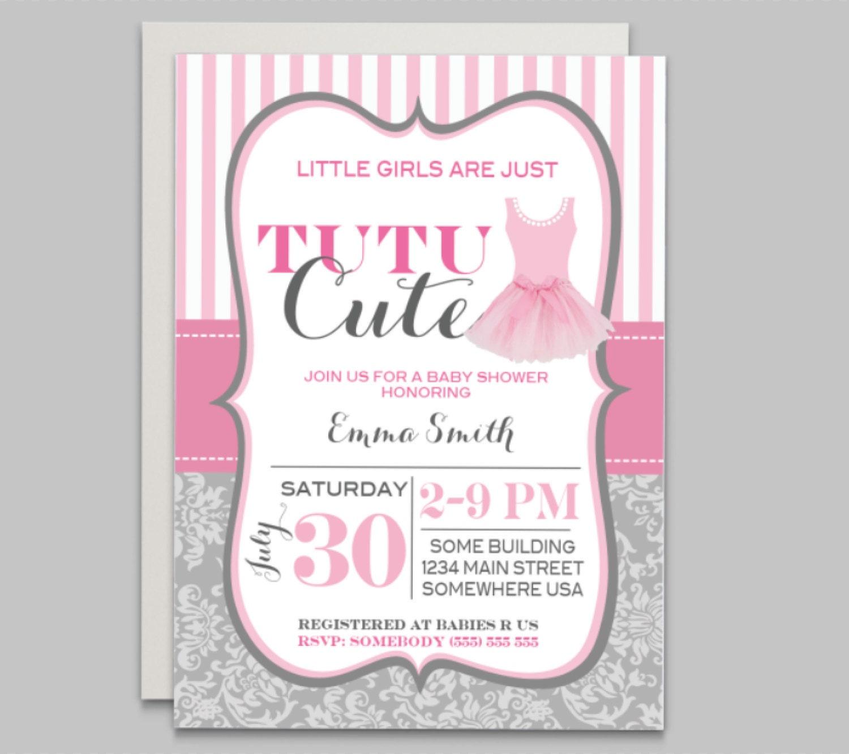 Tutu baby shower invitation, pink baby shower, ballerina baby shower ...