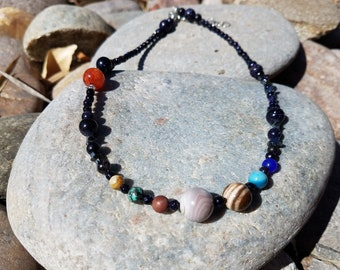 Outer space beaded necklace
