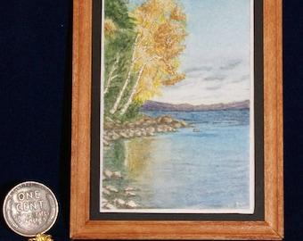 Miniature Watercolour Painting 1:12 Scale - #3 Lake Landscape