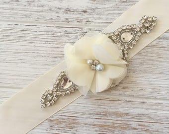 Ivory Bridal Sash, Ivory Wedding Belt, Rhinestone Wedding Belt, chiffon Flower Sash, Flower Girl Sash, Crystal Bridal Belt, Ivory Sash Belt