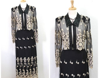 Skirt and Blouse 2 pieces set Black Mesh Embroidered Evening Party L