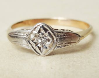 Art Deco Starburst Setting Diamond Ring, 9 Carat Gold and Diamond Engagement Ring Approx. Size US 5