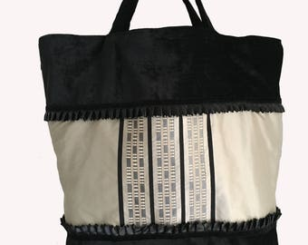XL Black velvet and silk embroidered tote bag gray