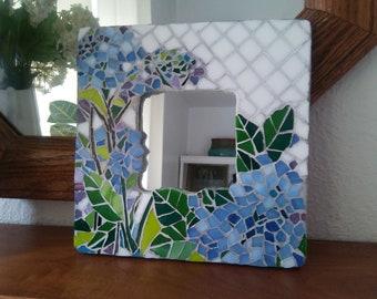 Mosaic Blue Hydrangea Mirror