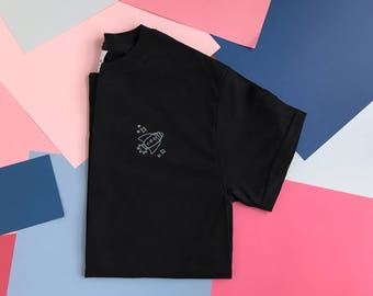 Embroidered Rocketship T-shirt