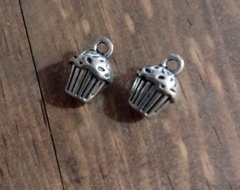 Cupcake Charms Bakery Charms Antiqued Silver Cupcake Wholesale Charms BULK 50 pieces 3D