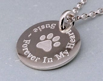 Pet memorial jewelry, Pet loss necklace, Personalised cat lover gift, Dog lover gift, Sterling silver paw print necklace, Pet loss gifts
