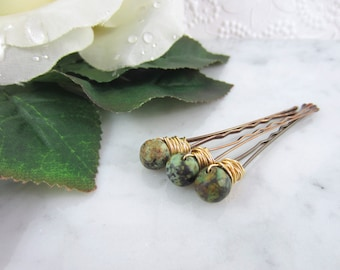 Jasper Hair Clips - Gemstone Hair Pins - Hair Pin Set - African Turquoise - Bobby Pins - Bridal Accessories - Woodland Wedding - Enchanted