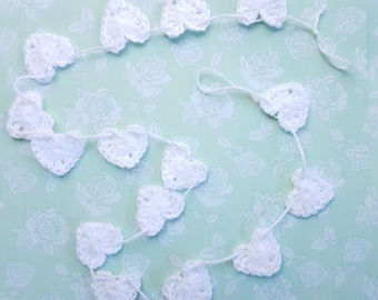 White Crochet Love Heart Bunting Garland Banner Baby Shower Birthday Wedding Party Room Decor