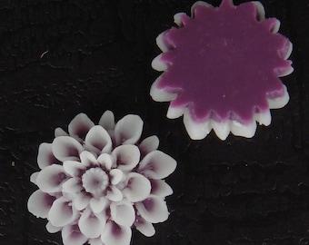 37-02-5870-CA   6pcs Chrysanthemum Cabochons - Amethyst / White