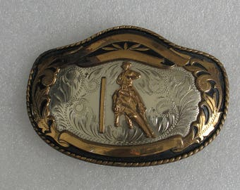 Vintage Brass and  German Silver Metal Cowboy Rodeo Comstock Belt Buckle