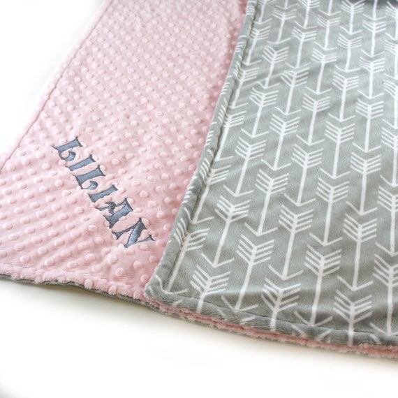 Pink Gray Arrow Throw, Minky Adult Blanket, Personalized Blanket, Throw Blanket, Gray Arrow Blanket, Minky Throw Blanket, Twin Bedding