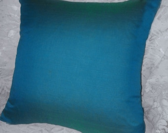 teal blue throw pillow 18x18 hand loom luxury pillow
