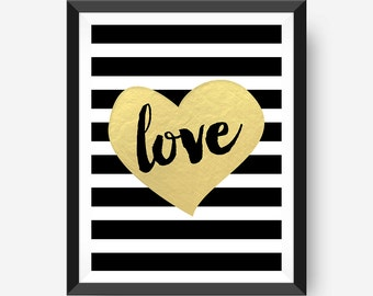 Love with foil heart, Printable Art Print, 8x10 Printable, Home Printable, Instant Download, Calligraphy, Wall Art Typography