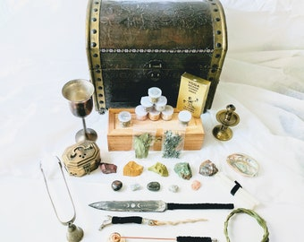 Premium Witch's Altar Kit - 35 Pieces Antiques Handmade Altar Tools Candles Herbs Crystals Antique Camelback ChestWiccan Altar Box