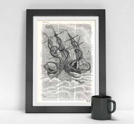 wall art  print Old Style Kraken Giant Octopus Print dictionary page Wall art octopus monster wall decor octopus print SEA079