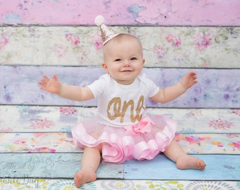 Pink and Gold First Birthday Outfit Girl, Ribbon Tutu, Baby Tutu Dress, Baby Romper, Baby Headband Hat, 1st Birthday Outfit Girl, Baby Girl