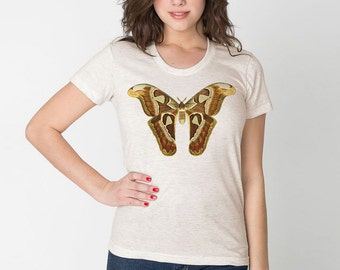 Moth triblend tshirt / vintage butterfly boho bohemian  tan shirt Festival Style / Vintage Illustration DTG T1108-p