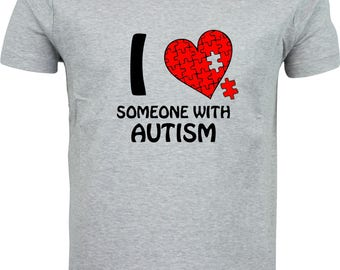 I Love some one with Autism funny humour gift xmas  full color sublimation t shirt