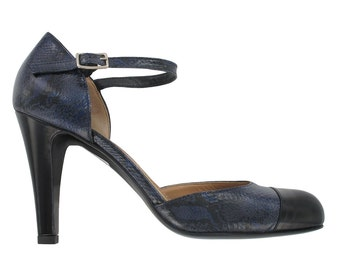 Blue leather ankle strap pump, Patent leather shoes, Blue ankle strap shoes, Handmade in Italy, Navy leather pump, Paola