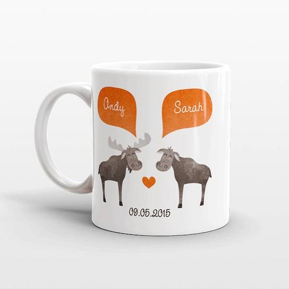 MOOSE Mug Valentines Day Gift for Husband Him Men Animal Couple Mug Unique Anniversary Gift Personalized Wedding Gift Coffee Mug Coffee Cup