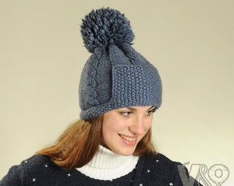Hat with pompom Knitting Pattern PDF. Women knit wool hat with pompom