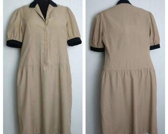 70s does 50s Shirtwaist Dress.Day Dress. Pinup Girl Clothing. Retro Clothing