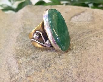 Vintage Brass Ring | Green Jasper | Sterling Silver | Vintage Jewelry | Statement Ring | Green Jewelry | Brass Jewelry | Vintage Silver