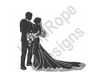 Bride & Groom Silhouette - Machine Embroidery Design