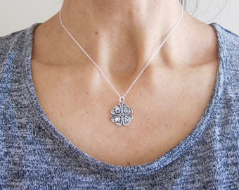 Four leaf clover lucky symbols sterling silver charm with chain, good luck necklace