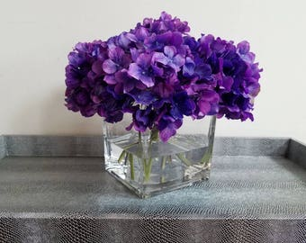 Purple Amethyst Hydrangea Faux Flower Arrangement, Hydrangeas in Glass Vase with Faux Water, Acrylic Water, Luxury Flowers