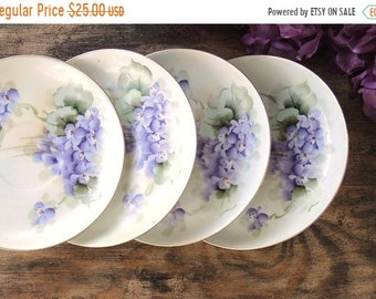 ON SALE Hand Painted Germany Violets Saucers Set of 4, Tea Party, Wedding, Cottage Chic, Vintage Bridesmaid Gift Inspired Replacement China