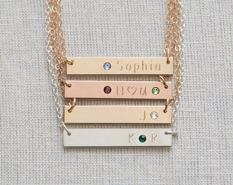Birthstone Bar Necklace,Personalized Birthstone Bar necklace,Gold,Silver,Rose Gold Bar Necklace,Bar Necklace,Custom bar necklace